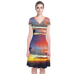 Sunset Mountain Indonesia Adventure Short Sleeve Front Wrap Dress