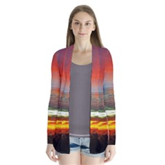 Sunset Mountain Indonesia Adventure Drape Collar Cardigan