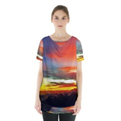 Sunset Mountain Indonesia Adventure Skirt Hem Sports Top by Nexatart