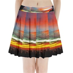 Sunset Mountain Indonesia Adventure Pleated Mini Skirt by Nexatart