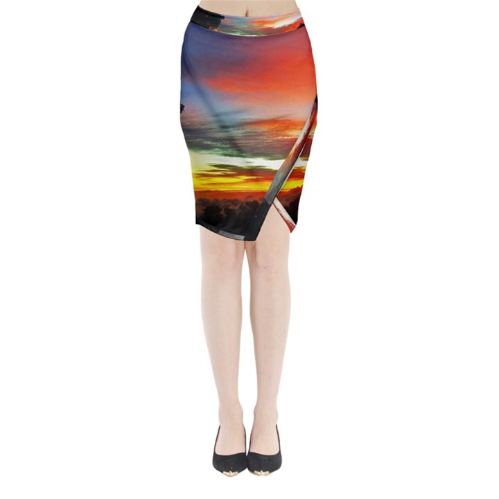 Sunset Mountain Indonesia Adventure Midi Wrap Pencil Skirt
