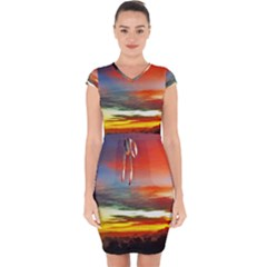 Sunset Mountain Indonesia Adventure Capsleeve Drawstring Dress