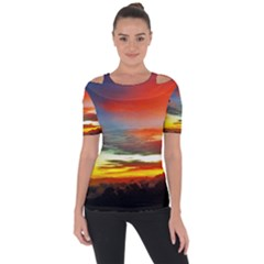 Sunset Mountain Indonesia Adventure Shoulder Cut Out Short Sleeve Top