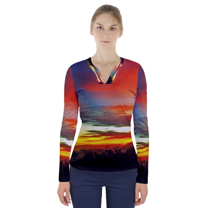 Sunset Mountain Indonesia Adventure V-Neck Long Sleeve Top