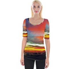 Sunset Mountain Indonesia Adventure Wide Neckline Tee by Nexatart