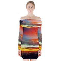 Sunset Mountain Indonesia Adventure Long Sleeve Off Shoulder Dress