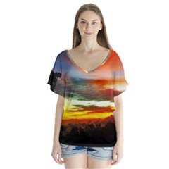 Sunset Mountain Indonesia Adventure V-Neck Flutter Sleeve Top