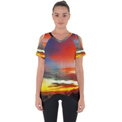 Sunset Mountain Indonesia Adventure Cut Out Side Drop Tee
