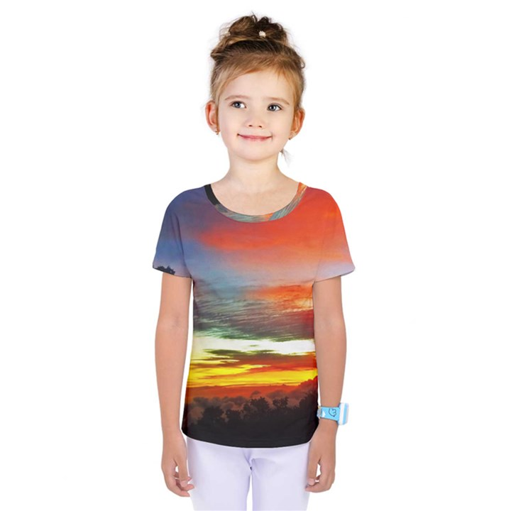 Sunset Mountain Indonesia Adventure Kids  One Piece Tee