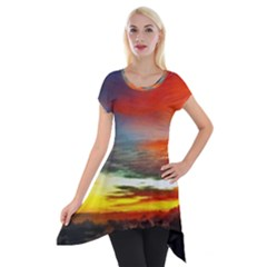 Sunset Mountain Indonesia Adventure Short Sleeve Side Drop Tunic