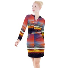 Sunset Mountain Indonesia Adventure Button Long Sleeve Dress