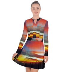 Sunset Mountain Indonesia Adventure Long Sleeve Panel Dress