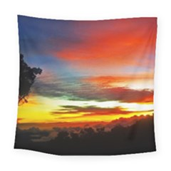 Sunset Mountain Indonesia Adventure Square Tapestry (large) by Nexatart