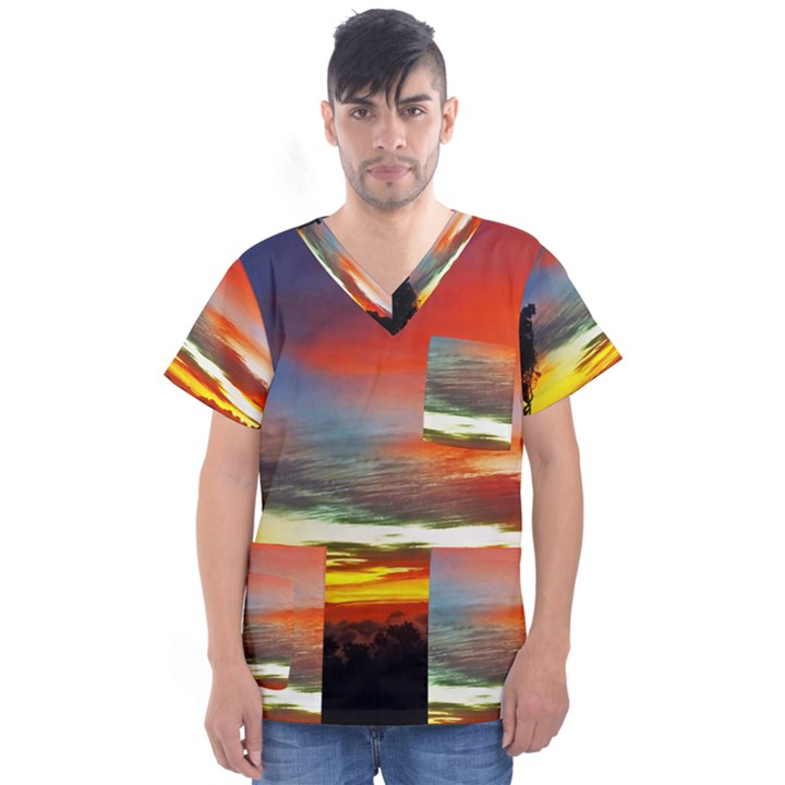 Sunset Mountain Indonesia Adventure Men s V-Neck Scrub Top