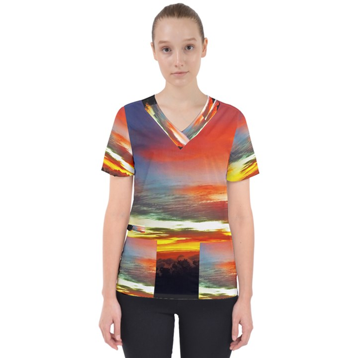 Sunset Mountain Indonesia Adventure Women s V-Neck Scrub Top