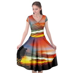 Sunset Mountain Indonesia Adventure Cap Sleeve Wrap Front Dress