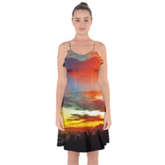 Sunset Mountain Indonesia Adventure Ruffle Detail Chiffon Dress by Nexatart
