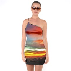 Sunset Mountain Indonesia Adventure One Soulder Bodycon Dress