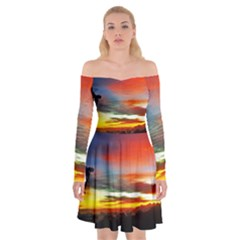 Sunset Mountain Indonesia Adventure Off Shoulder Skater Dress