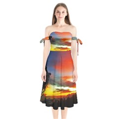 Sunset Mountain Indonesia Adventure Shoulder Tie Bardot Midi Dress