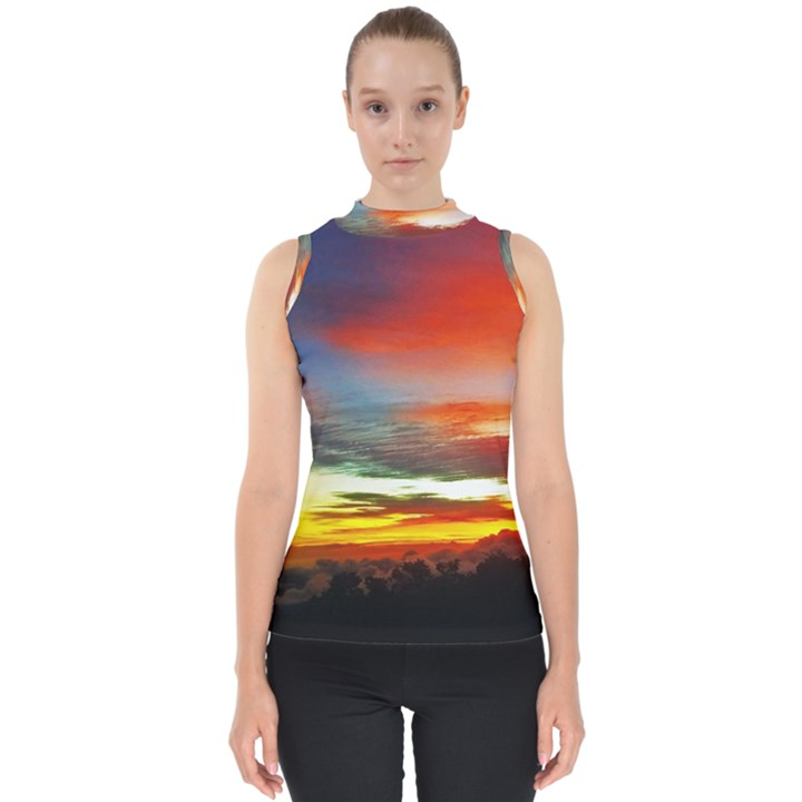 Sunset Mountain Indonesia Adventure Mock Neck Shell Top