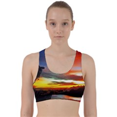 Sunset Mountain Indonesia Adventure Back Weave Sports Bra