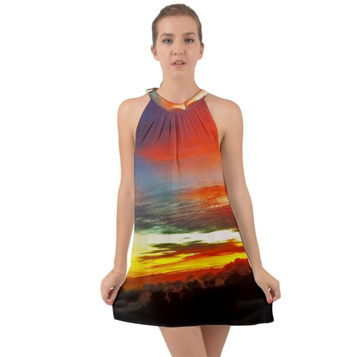 Sunset Mountain Indonesia Adventure Halter Tie Back Chiffon Dress