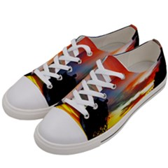Sunset Mountain Indonesia Adventure Women s Low Top Canvas Sneakers