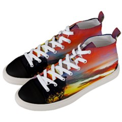 Sunset Mountain Indonesia Adventure Men s Mid-Top Canvas Sneakers
