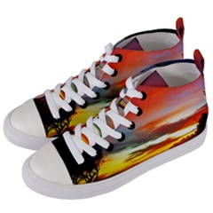 Sunset Mountain Indonesia Adventure Women s Mid-Top Canvas Sneakers