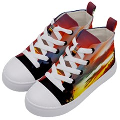 Sunset Mountain Indonesia Adventure Kid s Mid-Top Canvas Sneakers