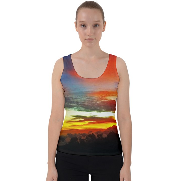 Sunset Mountain Indonesia Adventure Velvet Tank Top