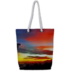 Sunset Mountain Indonesia Adventure Full Print Rope Handle Tote (Small)