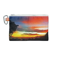 Sunset Mountain Indonesia Adventure Canvas Cosmetic Bag (medium) by Nexatart