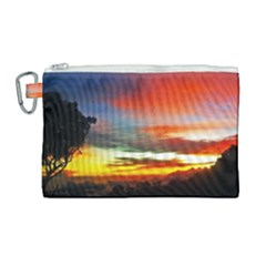Sunset Mountain Indonesia Adventure Canvas Cosmetic Bag (Large)