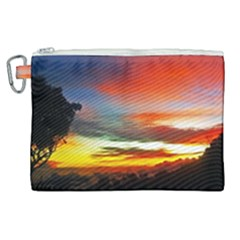 Sunset Mountain Indonesia Adventure Canvas Cosmetic Bag (XL)