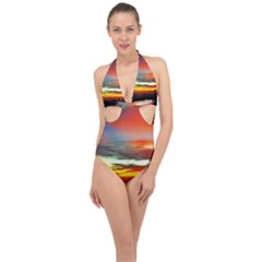 Sunset Mountain Indonesia Adventure Halter Front Plunge Swimsuit by Nexatart