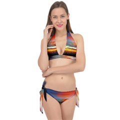 Sunset Mountain Indonesia Adventure Tie It Up Bikini Set by Nexatart