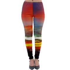 Sunset Mountain Indonesia Adventure Lightweight Velour Leggings by Nexatart