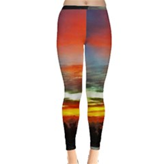 Sunset Mountain Indonesia Adventure Inside Out Leggings