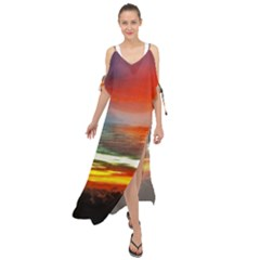 Sunset Mountain Indonesia Adventure Maxi Chiffon Cover Up Dress
