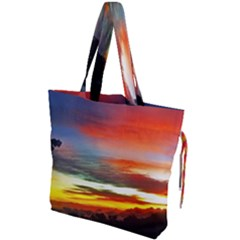 Sunset Mountain Indonesia Adventure Drawstring Tote Bag