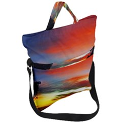 Sunset Mountain Indonesia Adventure Fold Over Handle Tote Bag