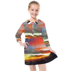 Sunset Mountain Indonesia Adventure Kids  Quarter Sleeve Shirt Dress by Nexatart