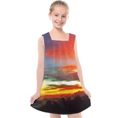 Sunset Mountain Indonesia Adventure Kids  Cross Back Dress