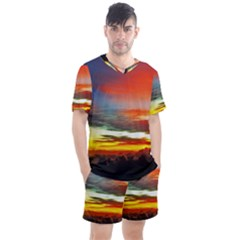 Sunset Mountain Indonesia Adventure Men s Mesh Tee and Shorts Set