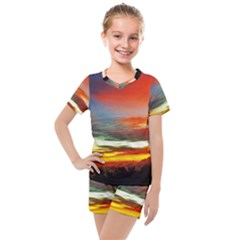 Sunset Mountain Indonesia Adventure Kids  Mesh Tee And Shorts Set