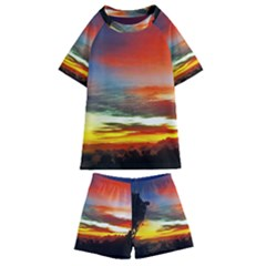 Sunset Mountain Indonesia Adventure Kids  Swim Tee And Shorts Set
