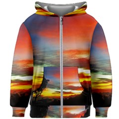 Sunset Mountain Indonesia Adventure Kids Zipper Hoodie Without Drawstring