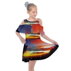Sunset Mountain Indonesia Adventure Kids  Shoulder Cutout Chiffon Dress by Nexatart
